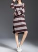 Long Sleeve H-line Stripes Knitted Sweater Dress