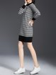 Knitted Long Sleeve Stripes Crew Neck Sweater Dress