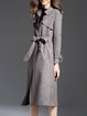 Gray Faux Suede Solid Lapel Long Sleeve Coat With Belt