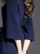 Navy Blue Solid Lapel Elegant Coat