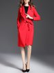 Red Long Sleeve Lapel Cotton-blend Coat