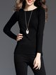 Solid Long Sleeve Ribbed Elegant Sweater