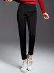 Black Casual Straight Leg Pants with Pockets