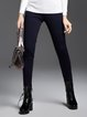 Dark Blue Solid Casual Straight Leg Pants with Pockets