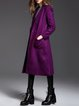Wool Blend Solid Pockets Long Sleeve Coat With Belt