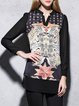 Printed Casual H-line Long Sleeve Polyester Mesh Paneled Tunic