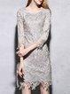 Gray A-line Crew Neck Half Sleeve Lace Mini Dress