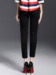 Black Basic Cotton-blend Solid H-line Skinny Leg Pants