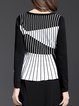 Casual Long Sleeve Crew Neck Stripes Long Sleeved Top