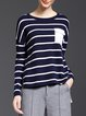 Wool Blend Crew Neck Asymmetrical Long Sleeve Casual Sweater