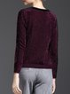 Purple Casual Knitted Paneled Sweater