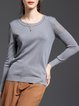 Gray H-line Basic Solid Long Sleeved Top