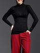 Black Solid Basic Stand Collar Wool Blend Long Sleeved Top