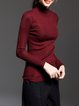 Burgundy Basic H-line Stand Collar Long Sleeved Top