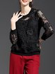 Black Two Piece Floral Casual Crocheted Long Sleeved Top