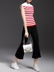 Red Knitted Casual Sheath Color-block Sweater