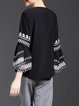 Frill Sleeve Crew Neck Casual Long Sleeved Top