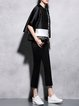 Black Casual Cotton-blend Plain Flared Pants