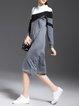 Gray Stand Collar Long Sleeve H-line Color Block Wool-blend Midi Dress