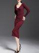 Burgundy V Neck Sheath Simple Midi Dress