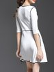 White Crew Neck Half Sleeve A-line Mini Dress