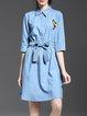 Light Blue Shirt Collar 3/4 Sleeve A-line Bow Shirt Dress