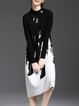 Black Casual Knitted Stand Collar Color-block Sweater Dress