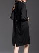 Black Pockets Long Sleeve High Low Shirt Dress