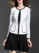 White Sheath Crew Neck Simple Blazer