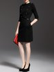 Black Elegant Cotton-blend Sheath Midi Dress