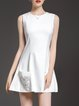 White Sleeveless Cotton-blend A-line Beaded Mini Dress