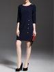Basic H-line 3/4 Sleeve Mini Dress