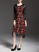 Red Crew Neck Vintage Floral Embroidered Midi Dress