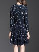 Navy Blue Printed Casual Midi Dress