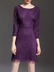 Elegant Floral 3/4 Sleeve Crew Neck Sheath Mini Dress