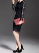 Black Sheath Crocheted Long Sleeve Crew Neck Midi Dress