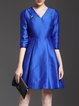 Royal Blue Cotton-blend Folds 3/4 Sleeve Solid Midi Dress