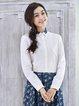 Long Sleeve Printed Cotton-blend Shirt Collar Casual Blouse