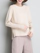 Plus Size Long Sleeve Crew Neck Casual Solid Sweater
