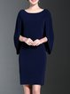 Solid H-line Crew Neck Simple Midi Dress