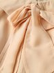 Khaki Casual Pleated Polyester A-line Midi Dress