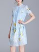 Embroidered Short Sleeve Two Piece Casual Polyester Midi Dress