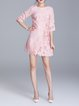 Shift Half Sleeve Polyester Embroidered Mini Dress