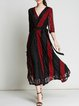 Black-red Half Sleeve See-through Look V Neck Maxi Dress