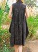 Casual Shirt Collar Printed Asymmetrical Sleeveless Shirt Dress