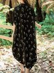Black V Neck Asymmetrical Half Sleeve Cotton Midi Dress