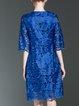 Royal Blue Crew Neck Guipure Lace Half Sleeve Midi Dress