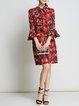 Red A-line Bell Sleeve Printed Boho Dress