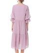 Girly Crinkled 3/4 Sleeve V Neck A-line Midi Dress