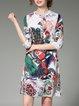 Multicolor A-line  Slit Half Sleeve Boho Dress